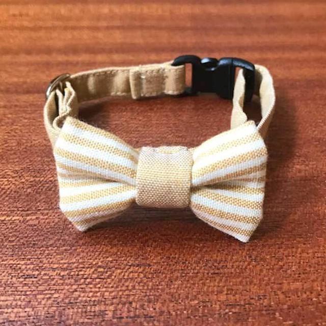 【特別価格】猫の首輪 リボン首輪 ストライプ イエローベージュ 送料無料