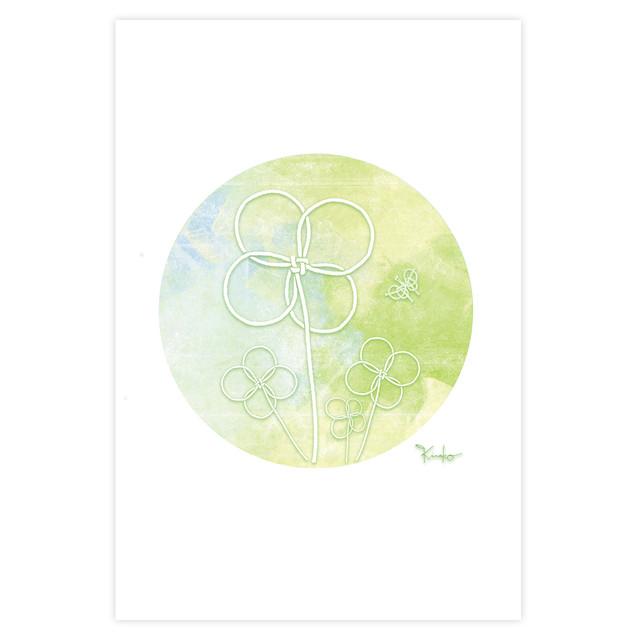 ポストカード 円結び(en-musubi)【春】~クローバー~ ~kinako~