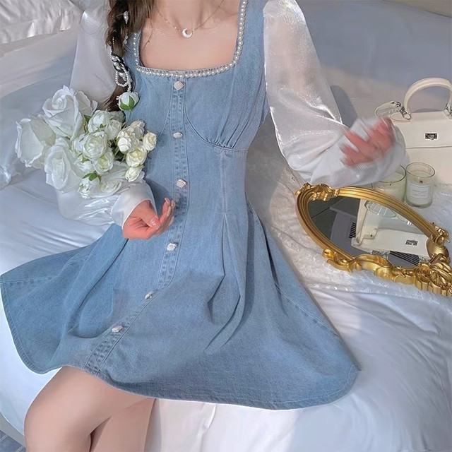 see-through sleeve denim dress