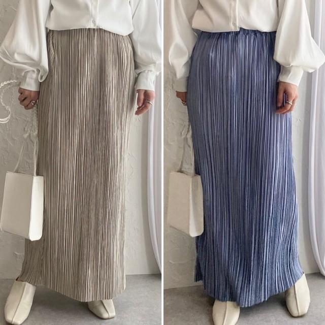 ◆即納◆iライン プリーツスカート ロング 光沢スカート OP-t92