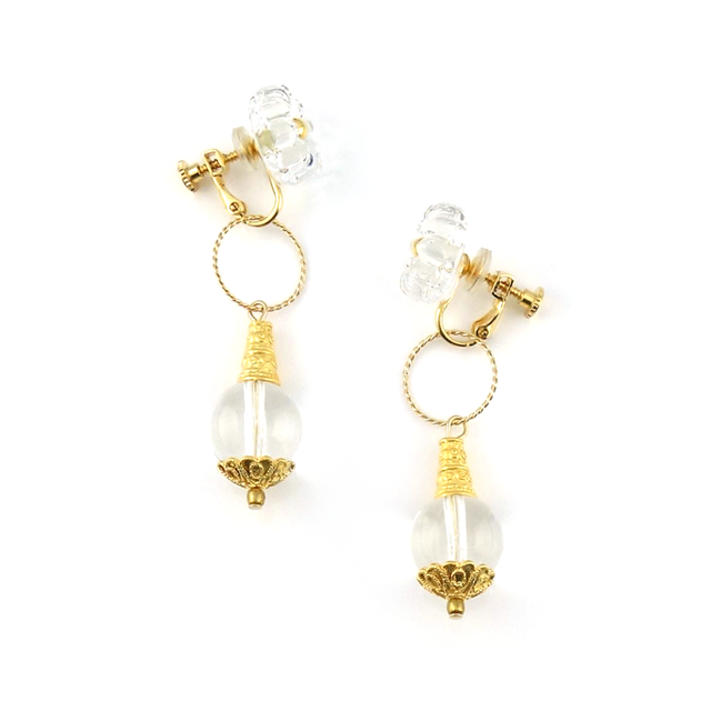 "【2way】 flower cushion_earrings ""pure ice"" gea01"
