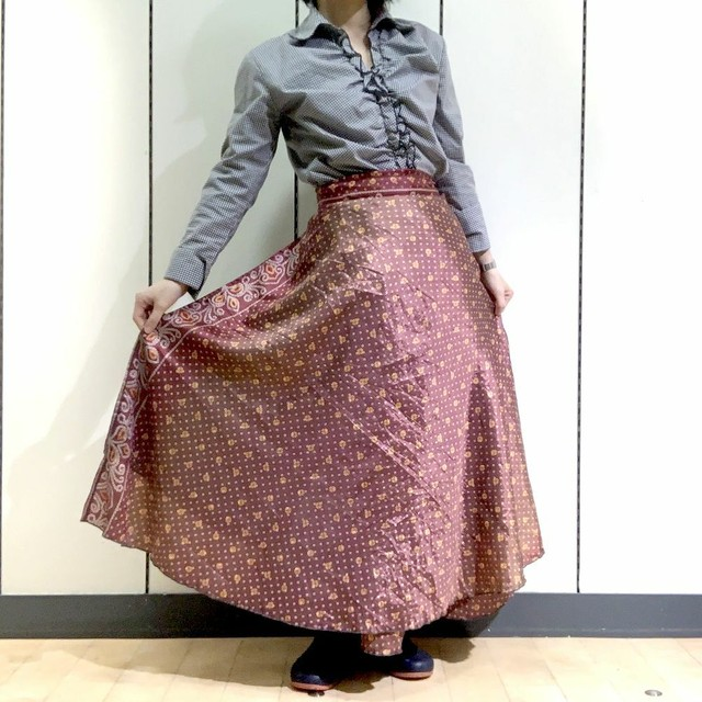 dsl-165 【新価格】シルクサリー巻きスカート ロング