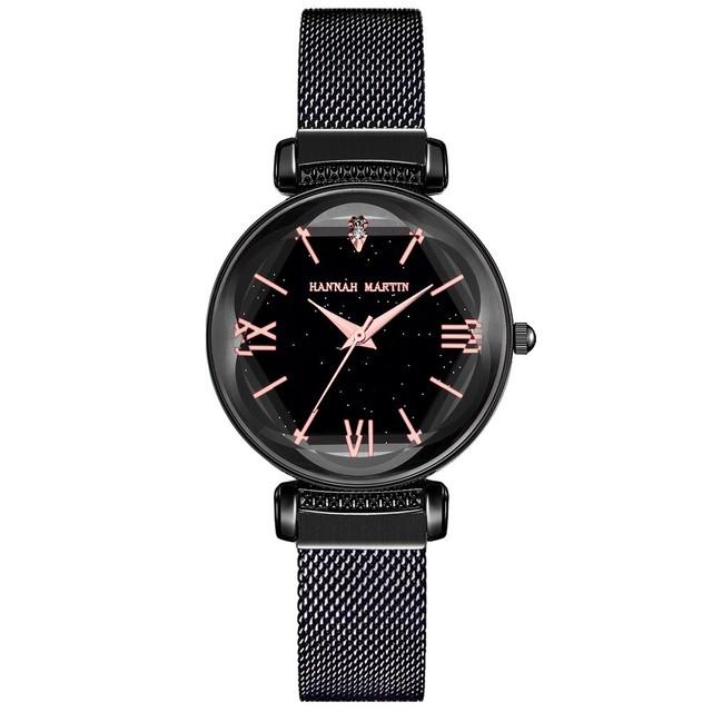 新日本MIYOTAムーブメントレディース高品質ブライトパープルステンレススチールマグネットメッシュ腕時計防水RelogioFemininoD8-HEI
