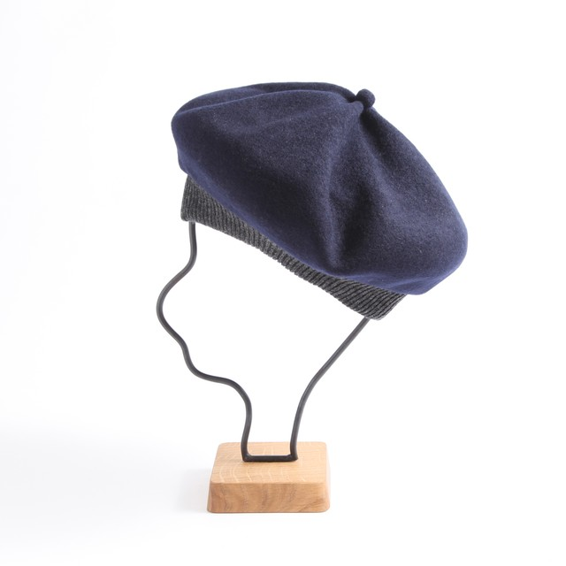 mature ha./beret top gather rib 2 tone lamb navy×charcoal