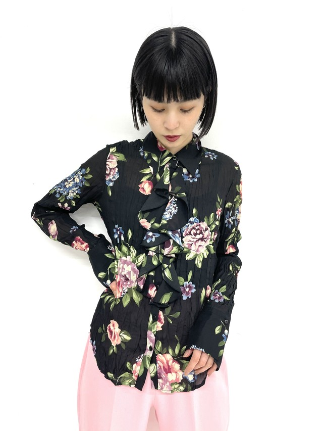 flower design pleats blouse /3SSTP04-05