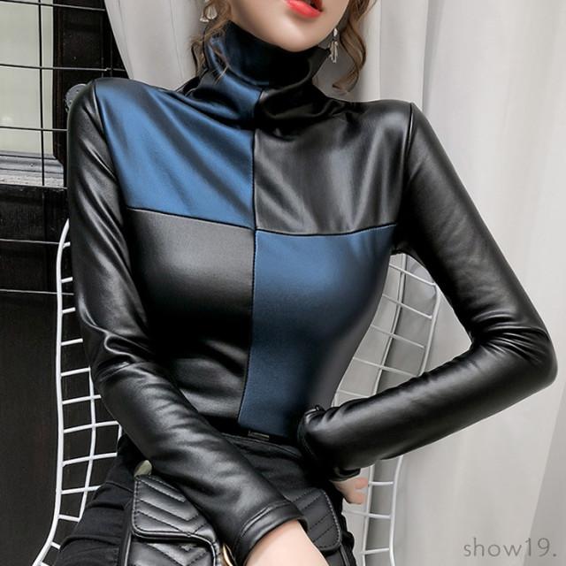【トップス】セクシー切り替え個性超人気ハイネックファッションTシャツ38559466