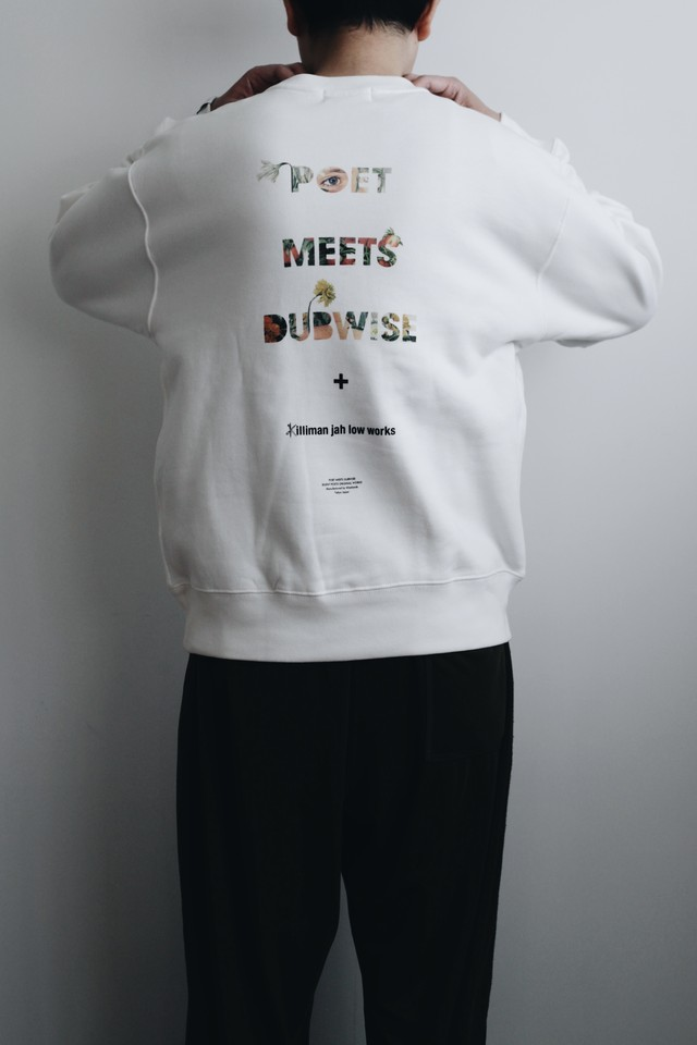 【POET MEETS DUBWISE(ポエトミーツダブワイズ)】× KILLIMAN JAH LOW WORKS PMD Logo Collage Inkjet Heavy Weight Sweat