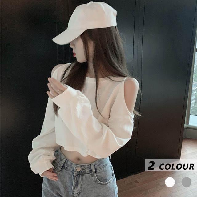 【トップス】ファッションラウンドネック透かし彫り韓国系プルオーバーTシャツ35262446