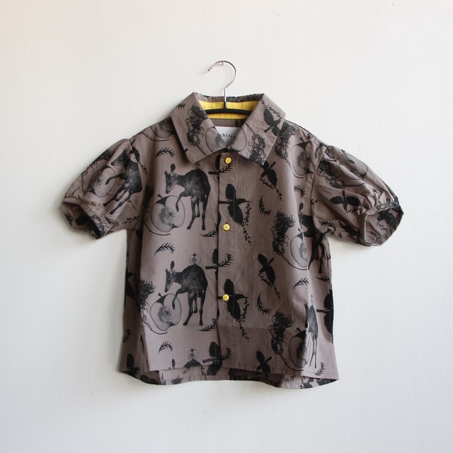 《michirico 2021SS》Flora and fauna shirt / charcoal / L・XL・XXL