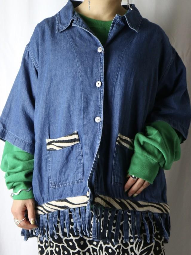 denim fringe design shirt jacket【5607】