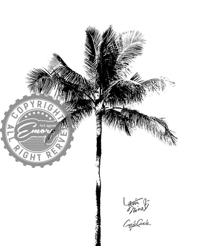 Craig Garcia × Lani Nina 作品名:laniopt - One palm tree  A3キャンバスポスターフレームセット【商品コード: cglaniopt01】