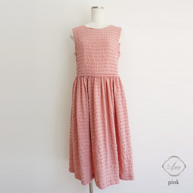 Amin by w.a original ワッフルシフォンワンピース Pink