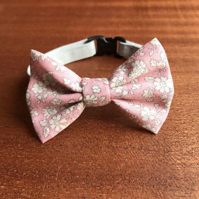猫の首輪 リボン首輪 BIGリボン 花柄 ピンク 蝶ネクタイ