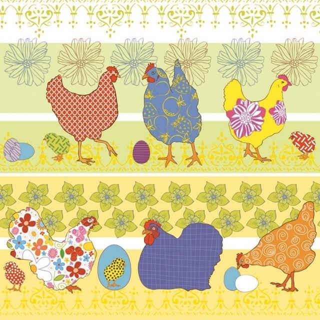 入荷しました|新入荷【Ambiente】バラ売り2枚 ランチサイズ ペーパーナプキン Modern Chickens Yellow イエロー