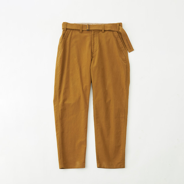 STRETCHED SUEDE TAPERED PANTS - BEIGE