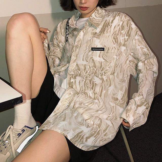 マーブル風総柄Yシャツ(全2色) / HWG445