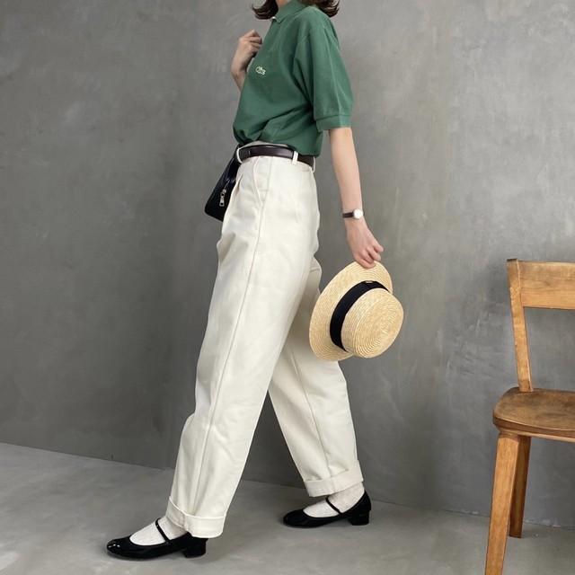 high waist tuck chino 【アイボリー】※即納品