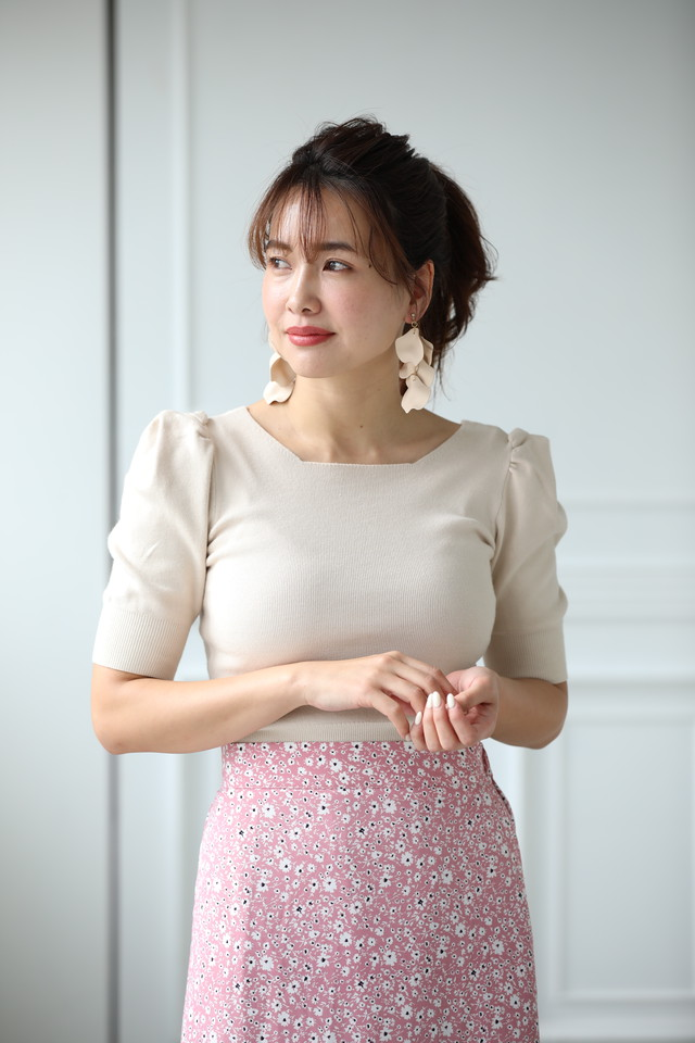 puff sleeve  2way knit