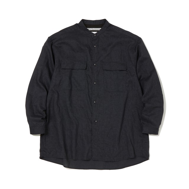 WIDE SILHOUETTE BAND COLLAR SHIRT -CHARCOAL