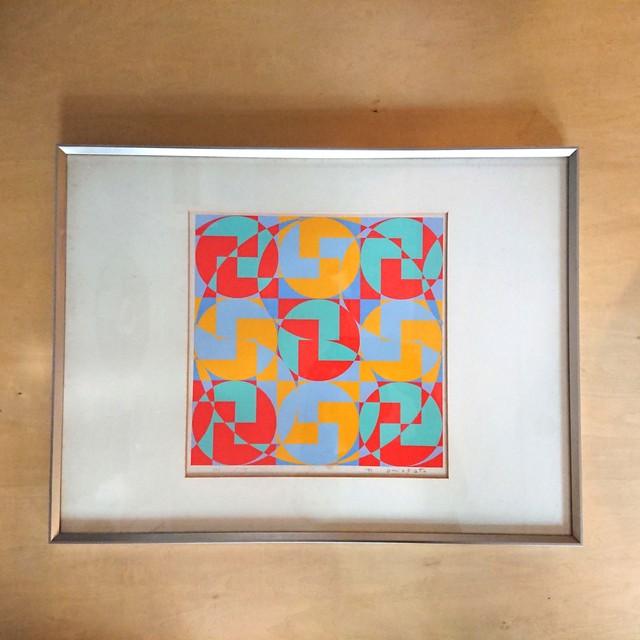 オノサト・トシノブ シルクスクリーン 1971年製作 ed.106/150 直筆サイン 額装