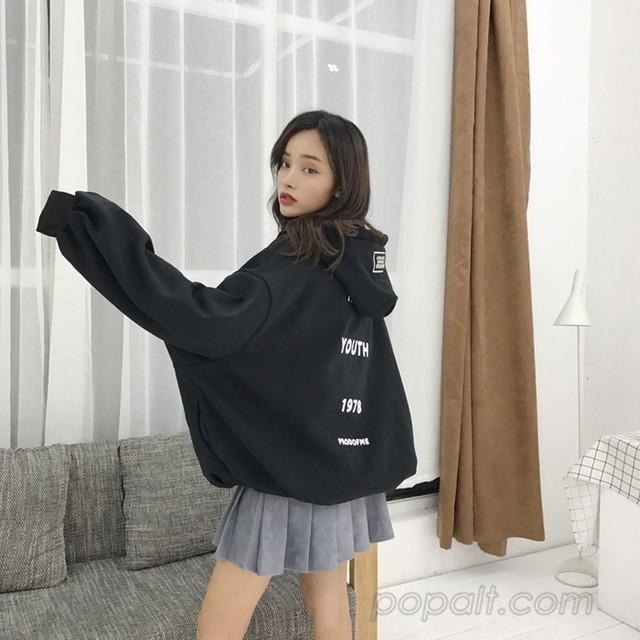 「アウター」韓国系プリントフード付きボウタイカーディガン18426496