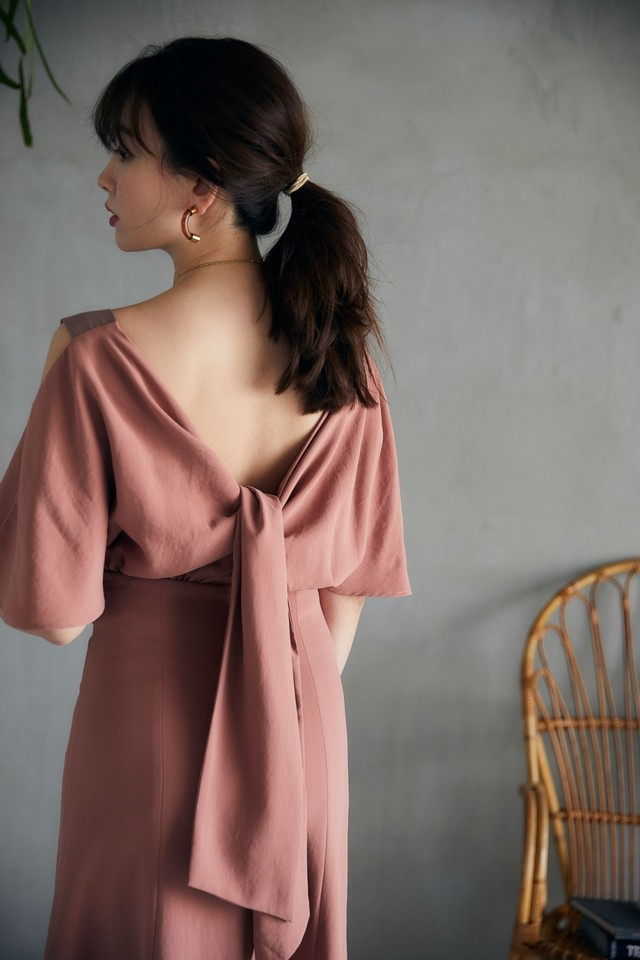 Open Shoulder Back Ribbon Dress