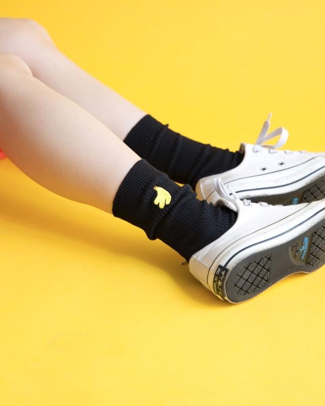 【B品SALE】食べもの刺繍ソックス(ブラック)
