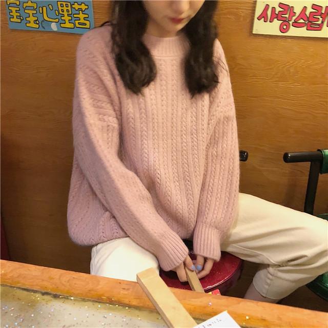 ケーブルニット プルオーバー セーター【1014】