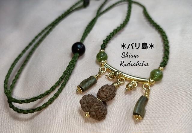 【ヨガのポーズ】3&5面ルドラクシャ★ノットタイプネックレス