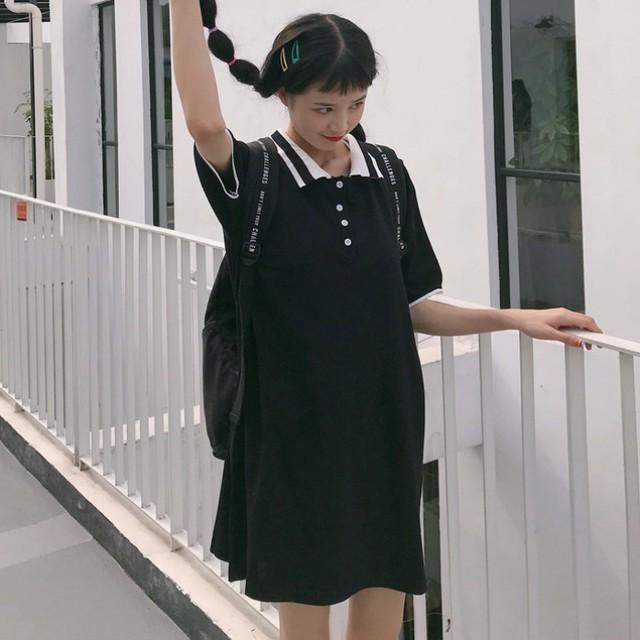 【dress】カジュアル無地折り襟ハイウエスト切り替え半袖Aラインカジュアルワンピース