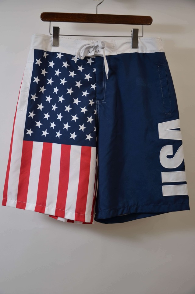 AMERICAN SUMMER アメリカンサマー AMERICAN FLAG GAME SHORT スイムショーツ 水着 WHITE 400613190501
