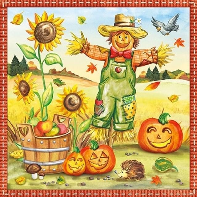 【Ambiente】バラ売り2枚 ランチサイズ ペーパーナプキン Scarecrow オレンジ