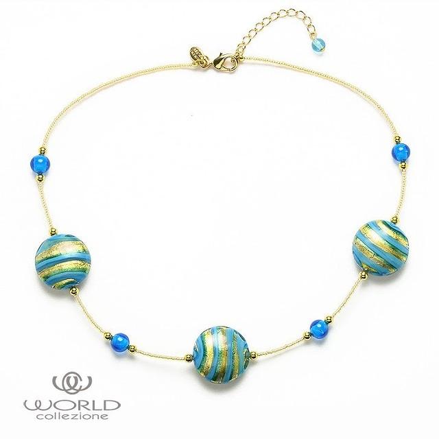 【送料無料】【worcolle】ベネチアンガラスのデザインショートネックレス(No.128570)