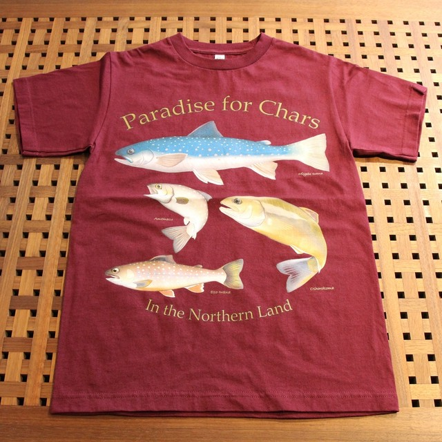 Northen Pika オリジナルデザインTシャツ[イワナパラダイス] カラー:バーガンディー