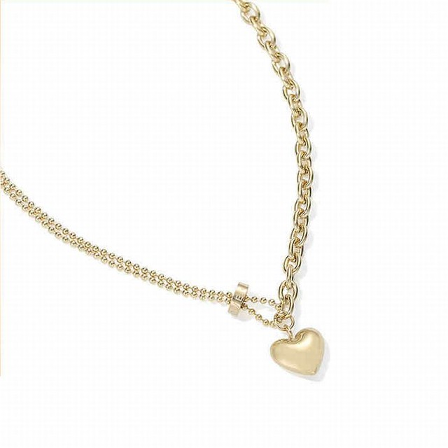 ネックレス ハート チェーン付き 金属アレルギー対応 ゴールド 韓国アクセサリー ペンダント チタン シンプル 人気 アクセサリー / Golden Love Heart-shaped Crabicle Chain-in Necklace (DTC-619861671616)