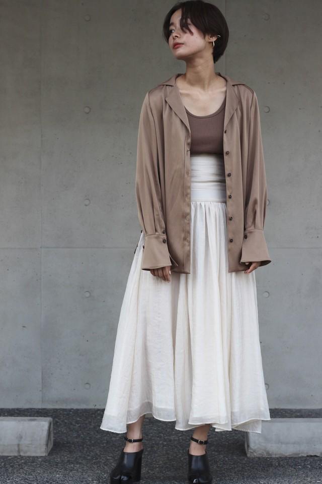 【eicayoshinari】silk organdy maxi skirt-off white