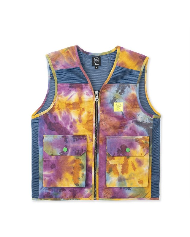 BRAIN DEAD DYED CANVAS SPACER MESH TACTICAL VEST - TIE DYE