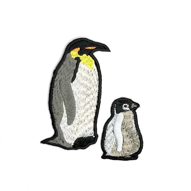 コウテイペンギンの親子 刺繍ワッペンセット