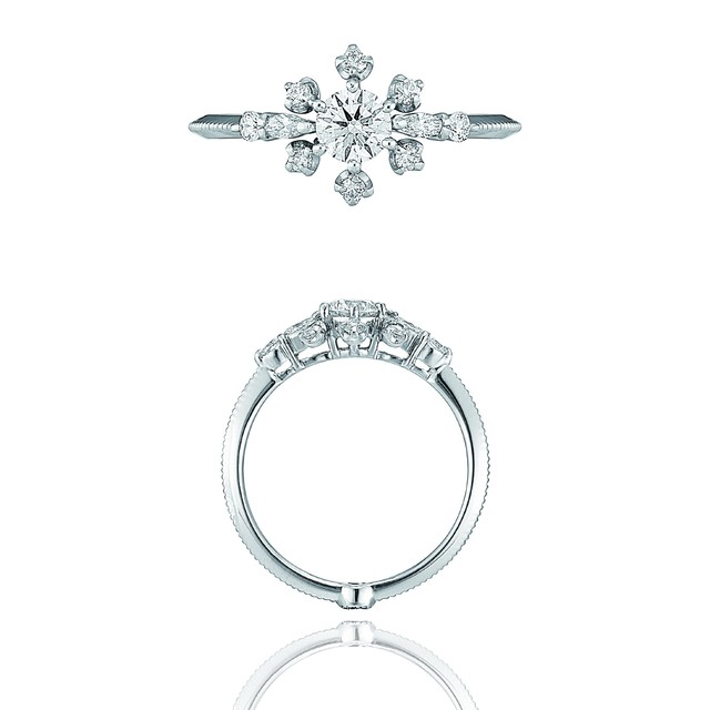 Diamond Bouquet Ring / Pt900 3EX H&C Diamond