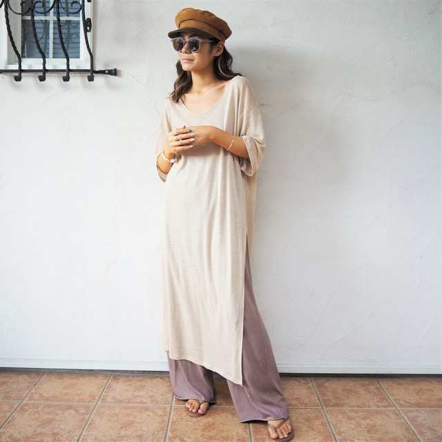 Linen Slit Long Tee《BEG》20383107