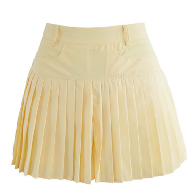 Pleats short pants (Yellow)