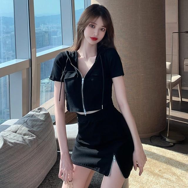 【セット】「単品注文」セクシースリムフード付きTシャツ+細見え気質溢れるスカート31595538