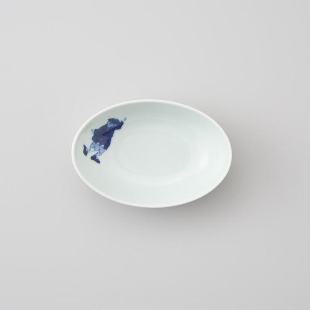 【青花】カール紅毛人 楕円小鉢