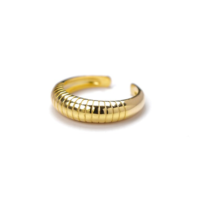 S925 THICK LINED ARC RING GOLD