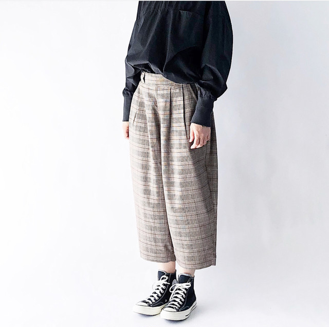 HARVESTY / T/R CHECKERED WIDE EGG CROPPED PANTS