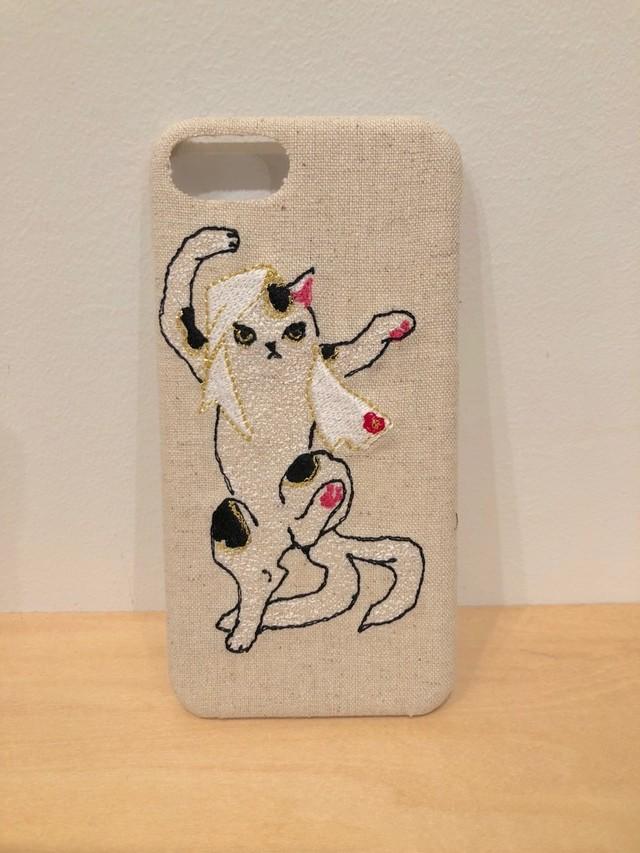 猫又ウシ柄iPhone6/6S&7&8ケース【綿麻生地】