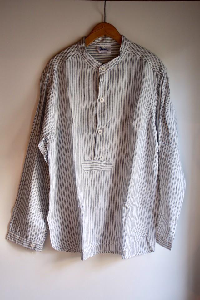 Yarmo(ヤーモ)リネンプルオーバー スタンドカラーシャツ ホワイト×ブルーストライプ メンズ