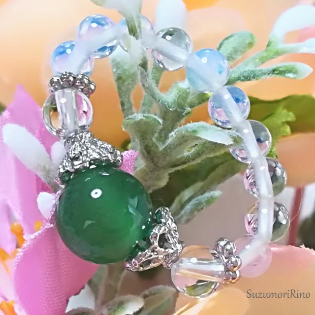 【リング】天然石パワーストーンリング(指輪)-ガーネット・水晶-(ring-011)