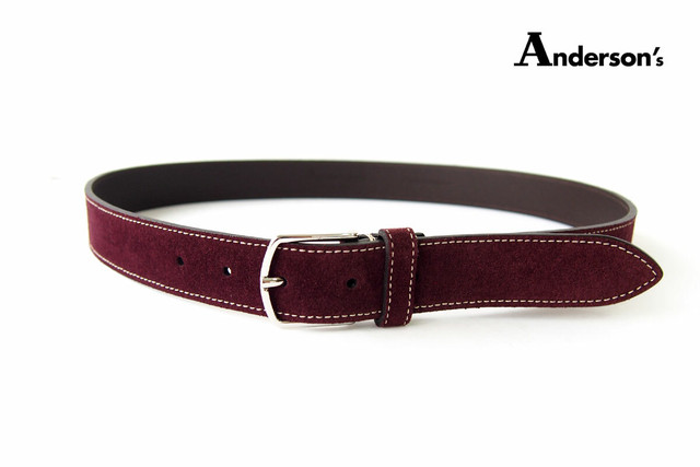 【Sold Out】アンダーソンズ|Anderson's|スエードレザーベルト|85|ボルドー