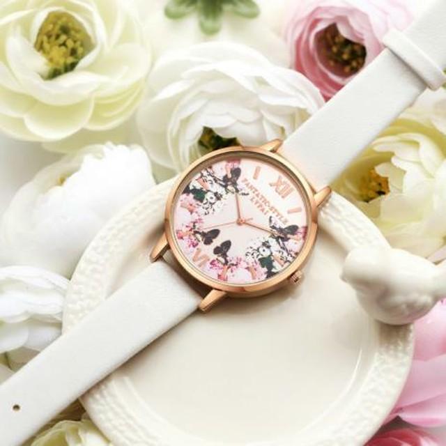 春色 レディース 腕時計 花 フラワー 蝶 ラウンド ドレスウォッチ ホワイト 白 レザー ブレスレットウォッチ クォーツ 高級 Lynn-11-white